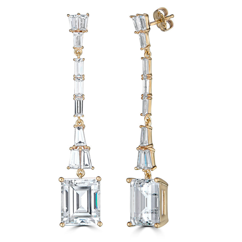 Hollywood Emerald Cut Drop Earrings