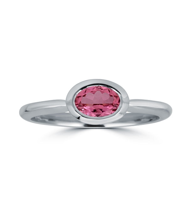 Pink Tourmaline Oval Horizontal Bezel Ring
