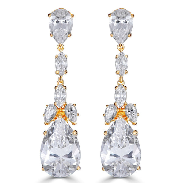 Liz Long Drop Earrings - Yellow Gold Plated Sterling Silver Bridal Earrings