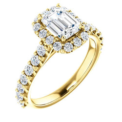 Harper 14K Yellow Gold Emerald Diamond Halo Engagement Ring