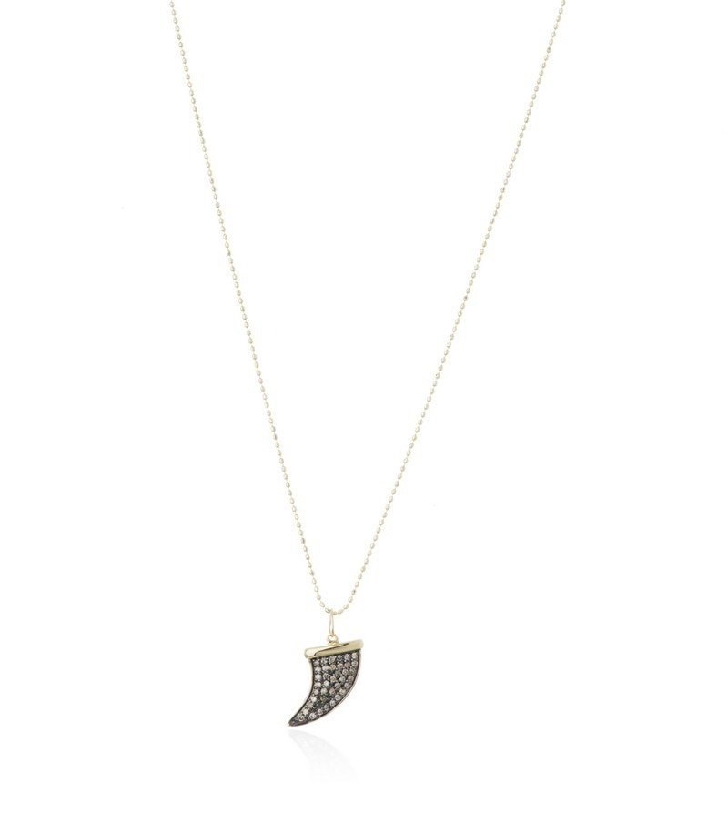 Medium Yellow Gold and Champagne Diamond Horn Necklace