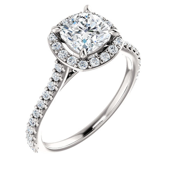 Suri 14K White Gold Cushion Cut Diamond Halo Engagement Ring