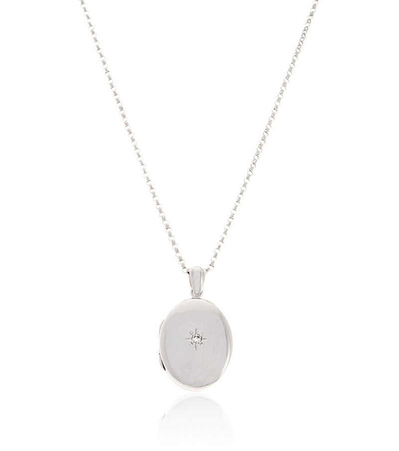 Premium Sterling Silver Oval Diamond Locket