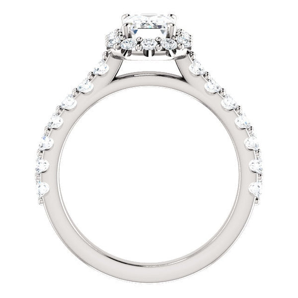 Harper Platinum Emerald Diamond Halo Engagement Ring