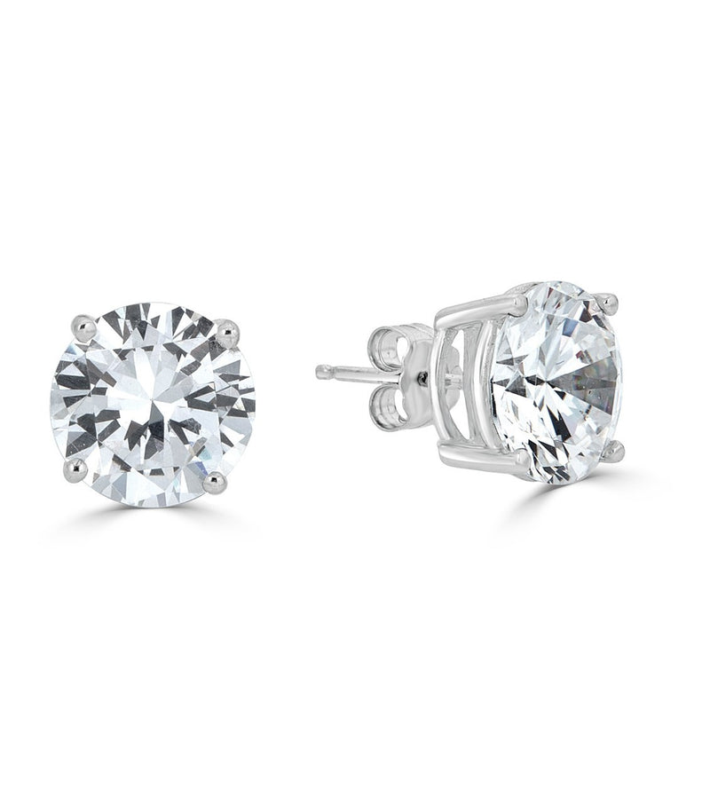 Liz 8mm Round Stud Earrings .925 Sterling Silver CZ