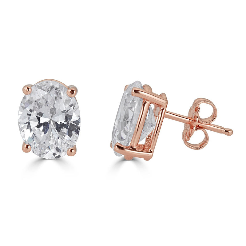 Liz Oval Stud Earrings -rose gold plated sterling silver cz