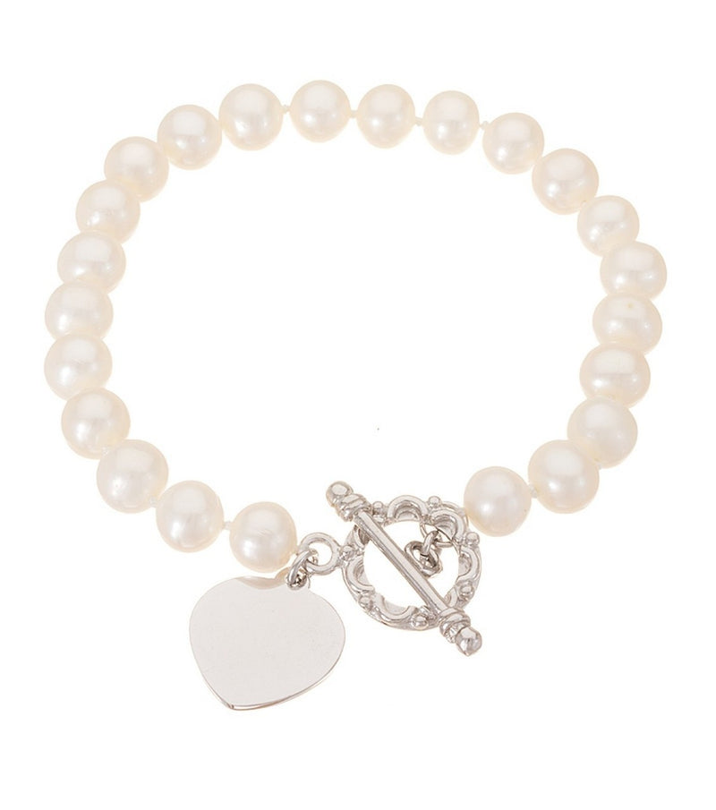 Freshwater Pearl Sterling Silver Heart Toggle Bracelet