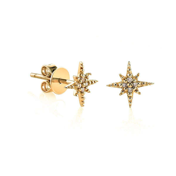 Mini Gold and Diamond Starburst Stud Earrings