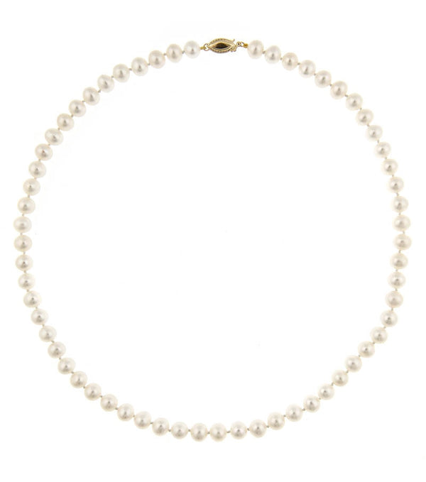 Classic Pearl Set - Earrings and Necklace 6.5-7mm