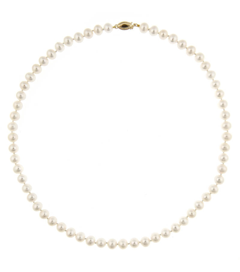 Classic Pearl Set - Earrings and Necklace 6.5-7mm - Thomas Laine Jewelry