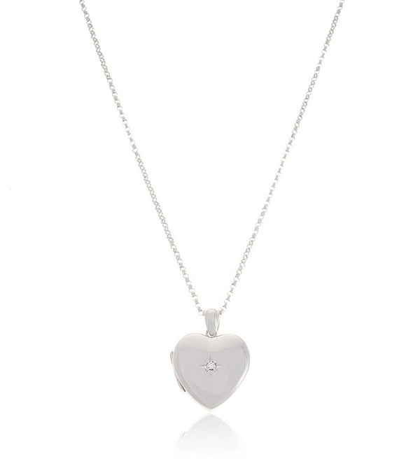 Premium Sterling Silver Heart Diamond Locket - Thomas Laine Jewelry