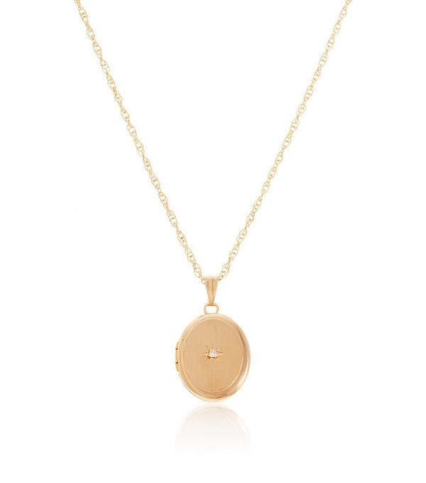 Mini Gold Oval Diamond Locket