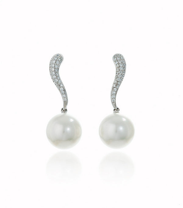 White South Sea Pearl and Pave Diamond Drop Earrings