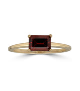 Emerald Cut Garnet Ring