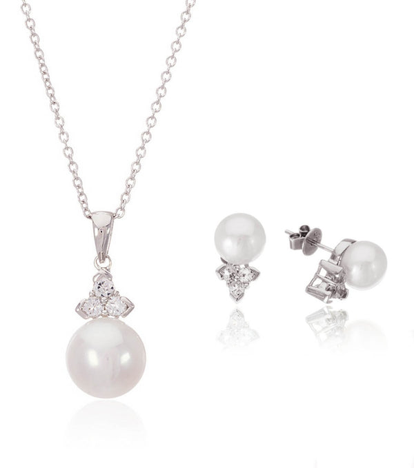 Trinity Pearl Pendant and Earrings Set