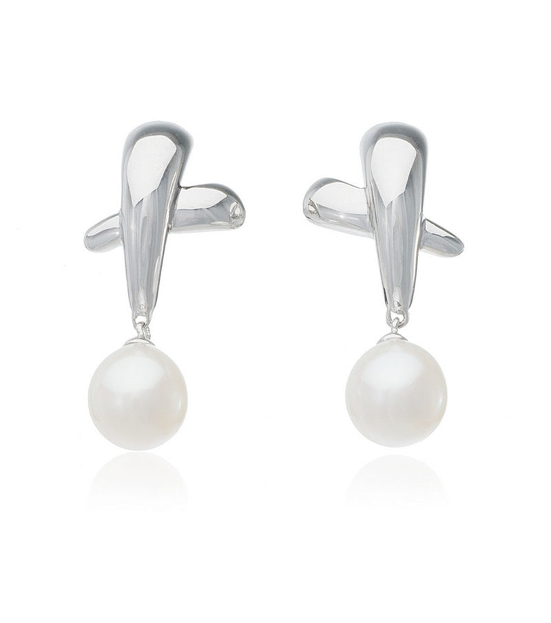 Sterling Silver Elisa Pearl Drop Earrings