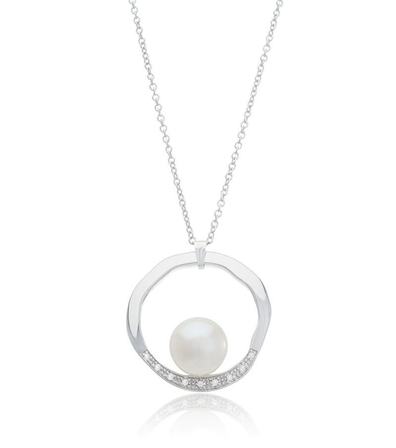 Pearl and White Topaz Illumina Necklace - Thomas Laine Jewelry
