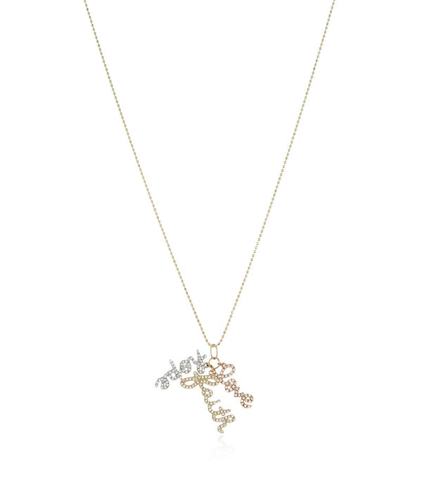 Yellow Gold Diamond Hope Faith and Love Necklace