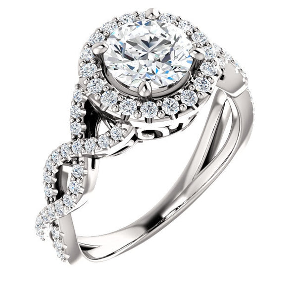 Gabriella Platinum Round Diamond Infinity Halo Engagement Ring