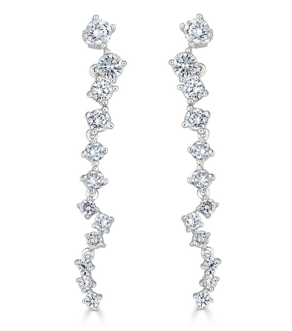 Karolyne Flowing Drop Earrings - Sterling Silver Cubic Zirconia