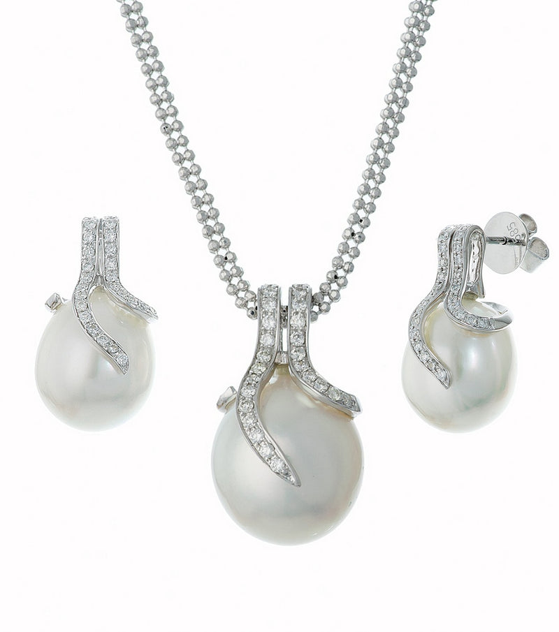 14K White Gold Oscar Collection South Sea  Pearl and Diamond Set
