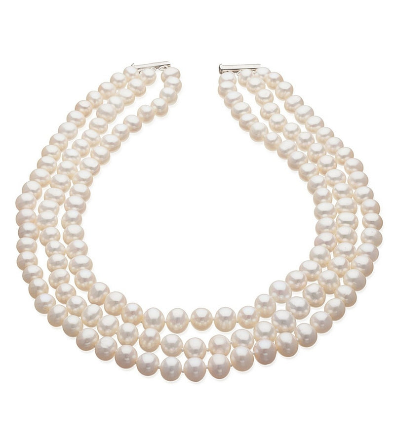 Three Strand Cultured Freshwater Pearl Necklace - Thomas Laine Jewelry