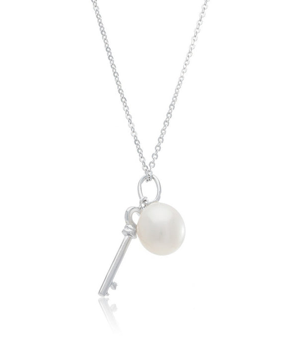 Sterling Silver Key Charm Pearl Pendant
