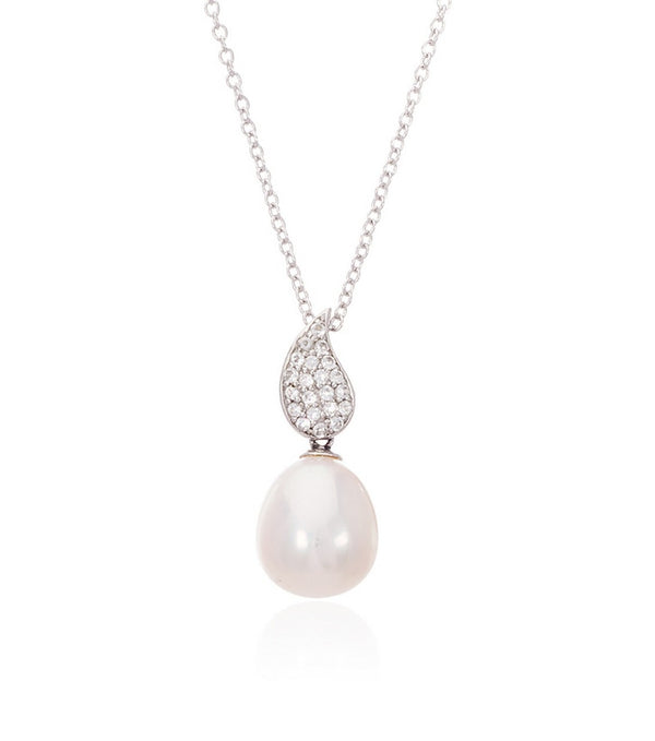 Sterling Silver White Topaz Teardrop and Freshwater Pearl Necklace