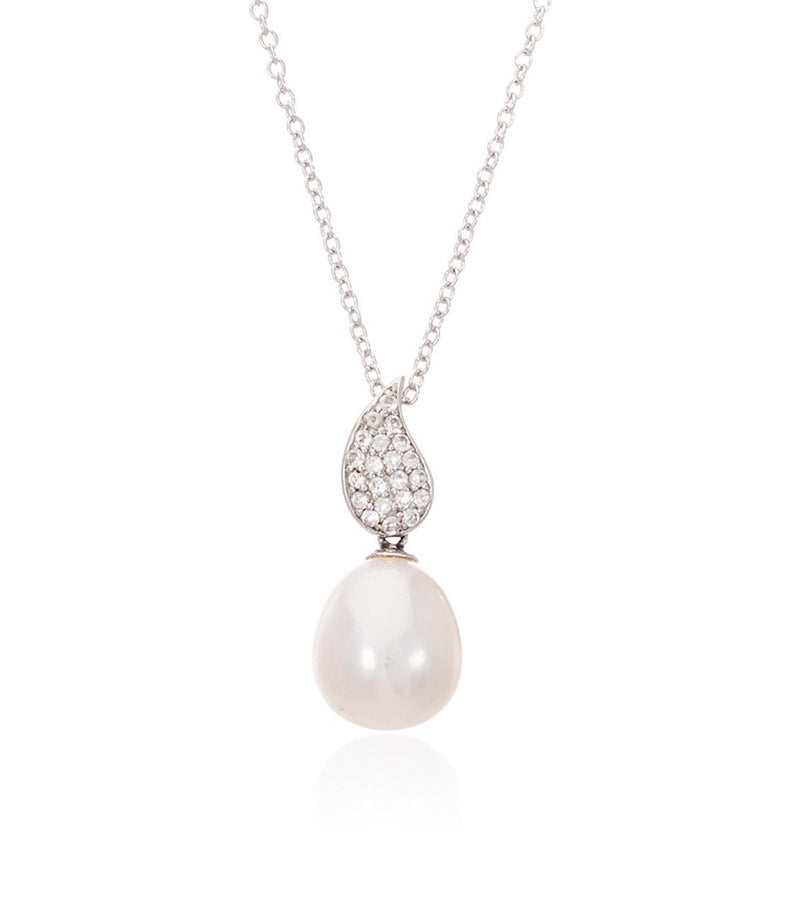 Sterling Silver White Topaz Teardrop and Freshwater Pearl Necklace  Thomas Laine Jewelry