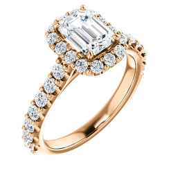 Harper 14K Rose Gold Emerald Diamond Halo Engagement Ring