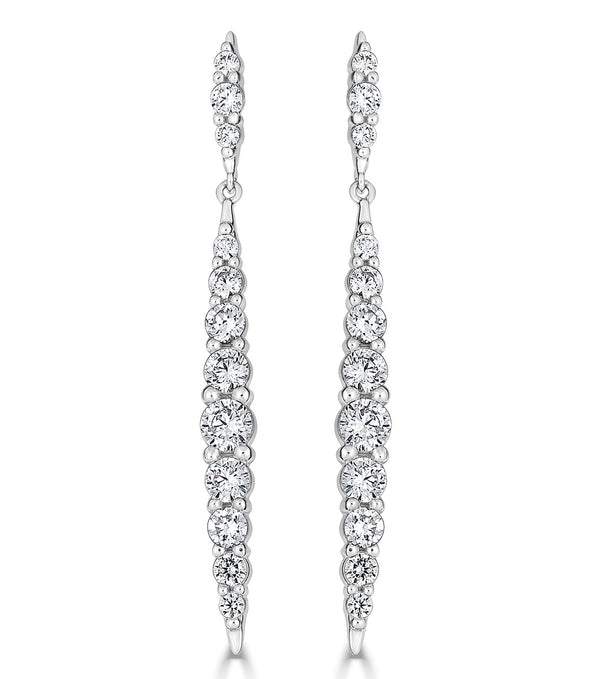 Karolyne Tapered Sparkling Drop Earrings - Thomas Laine Jewelry