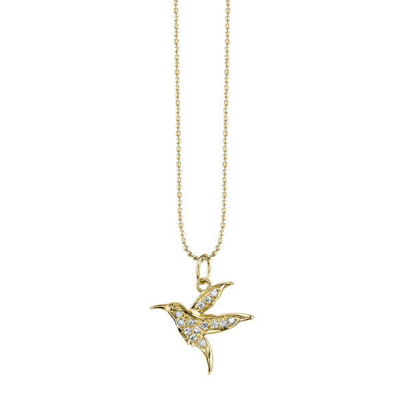 Yellow Gold and Diamond Hummingbird Necklace