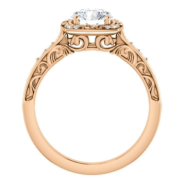 Harlow 14K Rose Gold Round Diamond Sculptural Halo Engagement Ring - Thomas Laine Jewelry