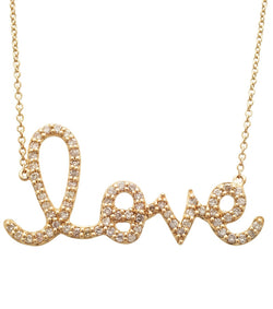 Sydney Evan Large Gold and Diamond Love Necklace