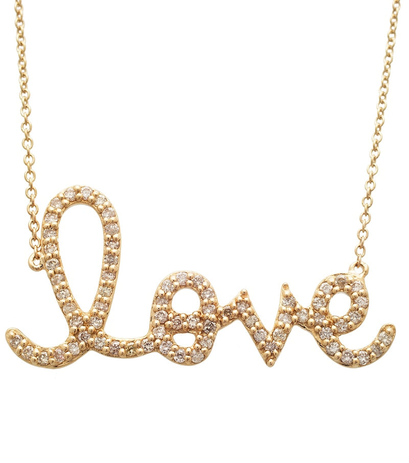 Large Gold and Diamond Love Necklace