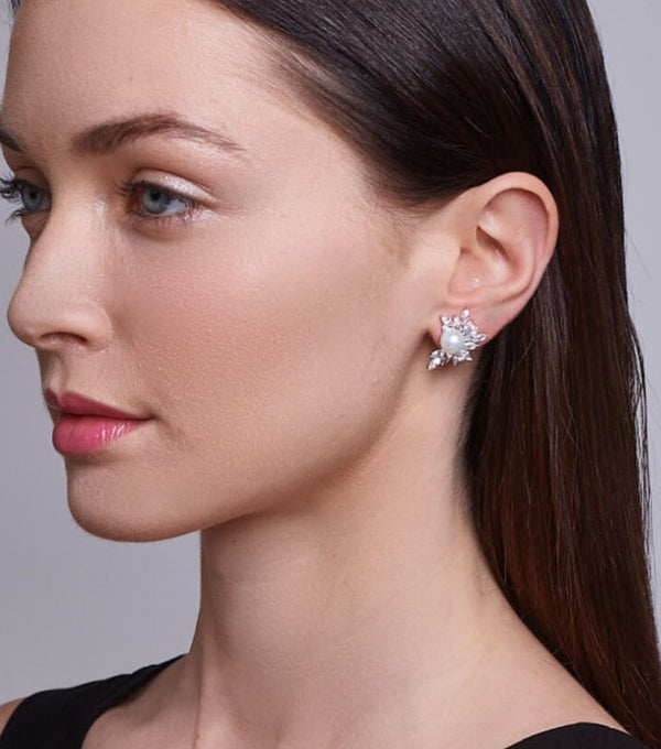 Liz Garland Pearl Cluster Earrings on Model  - Bridal Earrings