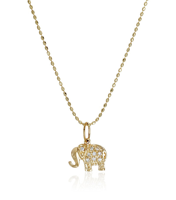 Mini Yellow Gold and Diamond Elephant Necklace