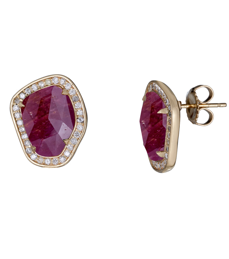 Ruby Slice and Diamond Stud Earrings