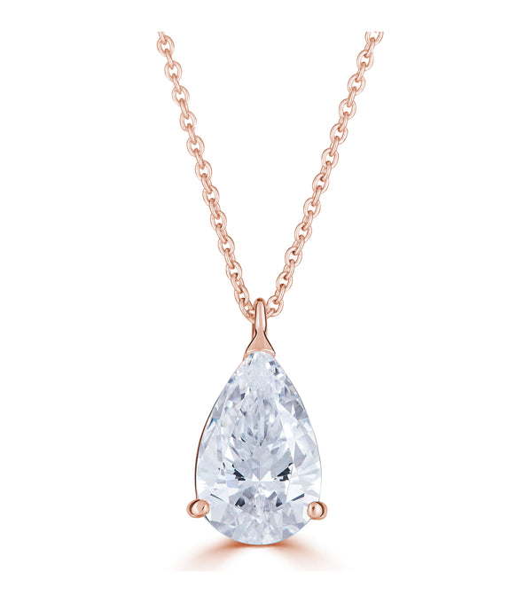 Liz Pear Pendant Necklace - Rose Gold Plated Thomas Laine Bridal  Jewelry