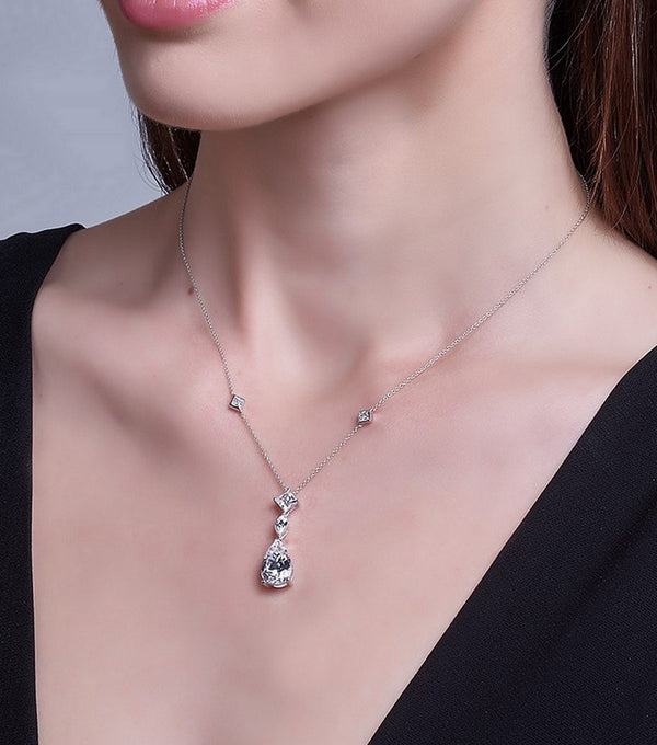 Sterling Silver CZ Pendant Necklace