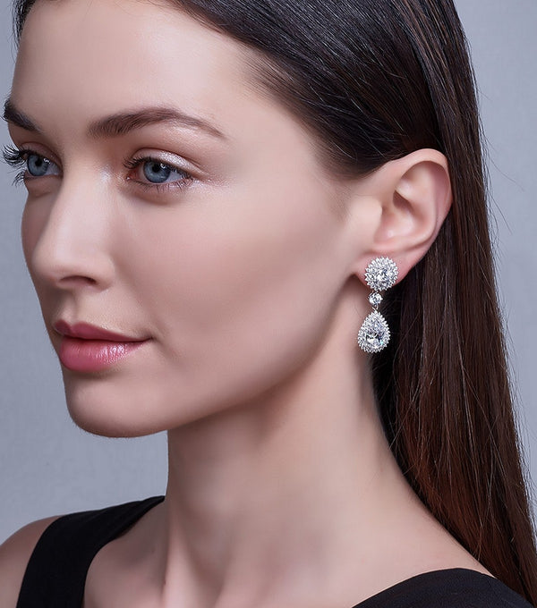 Regal Halo Drop Earrings on Model
