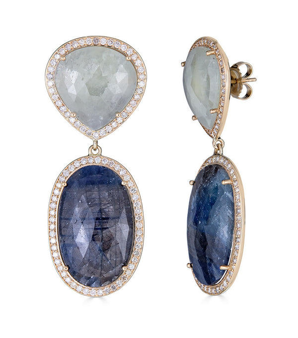 Blue Sapphire Slice and Diamond  Pear and Oval Earrings