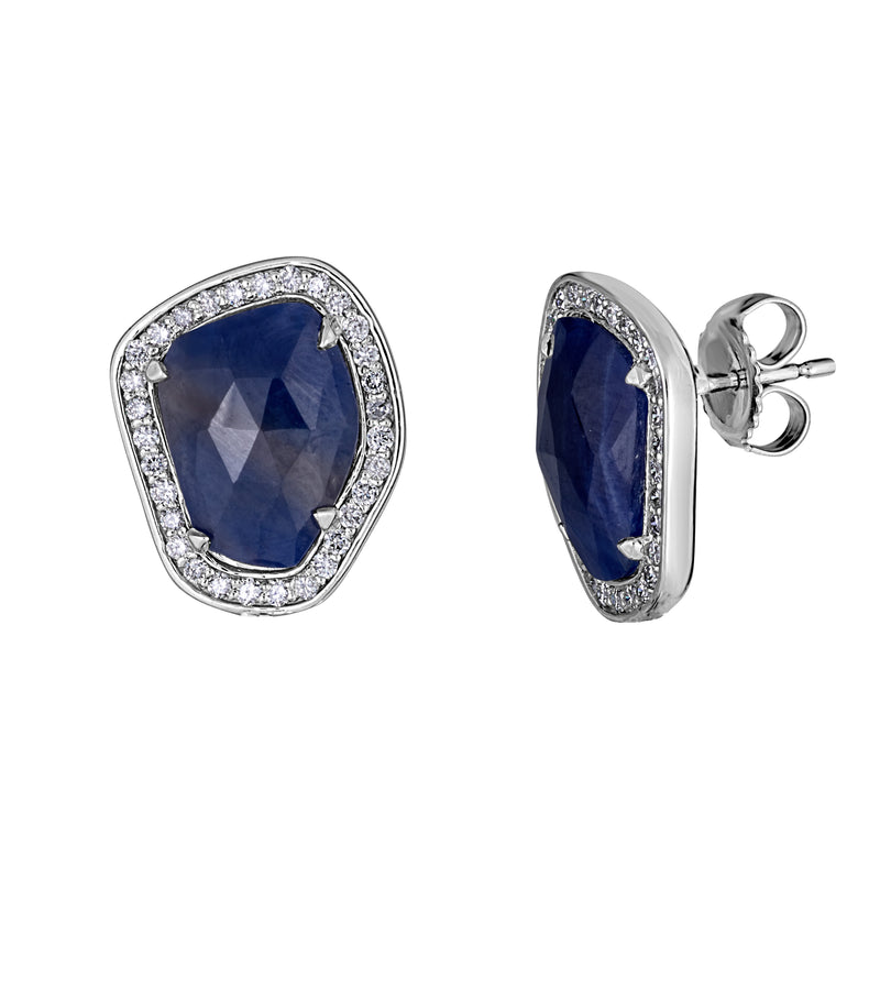 14k White Gold Sapphire Slice and Diamond Stud Earrings