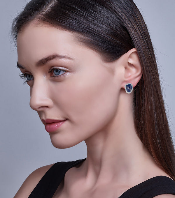 Sapphire Slice and Diamond Stud Earrings