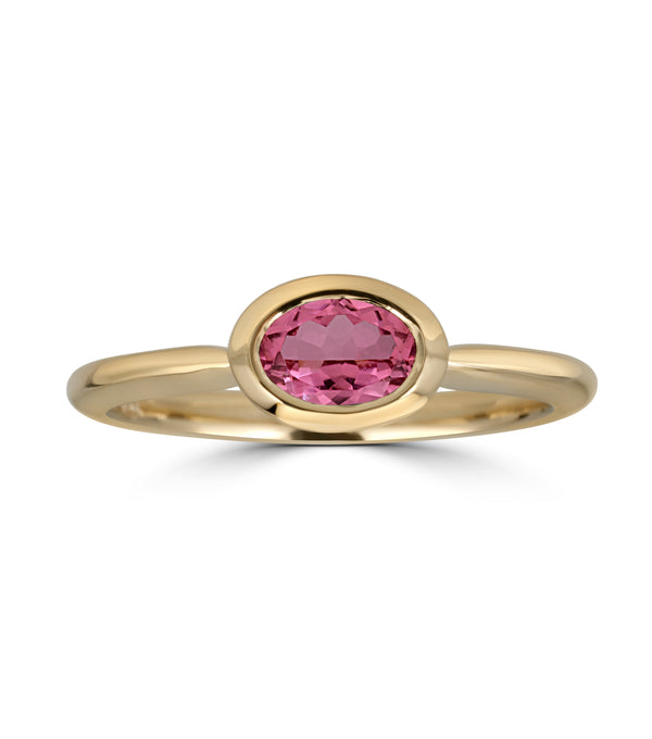 Yellow Gold Pink Tourmaline Oval Horizontal Bezel Ring