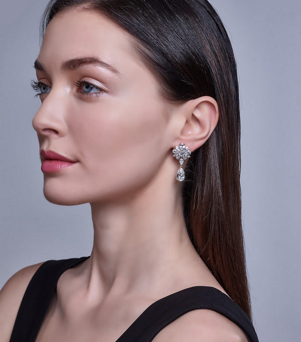 Floral Black Tie Earrings on Model