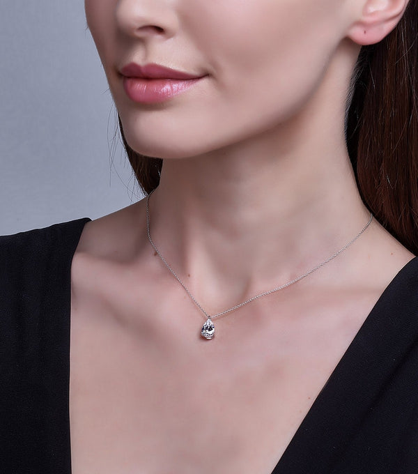 Liz Pear Pendant Necklace- Sterling Silver CZ on model