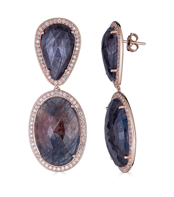 Rose Gold Sapphire Pear and Oval Slice  Diamond Earrings