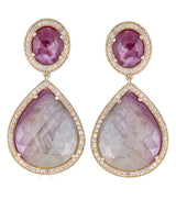 Pear Ruby Sapphire Diamond Drop Earrings - Thomas Laine Jewelry