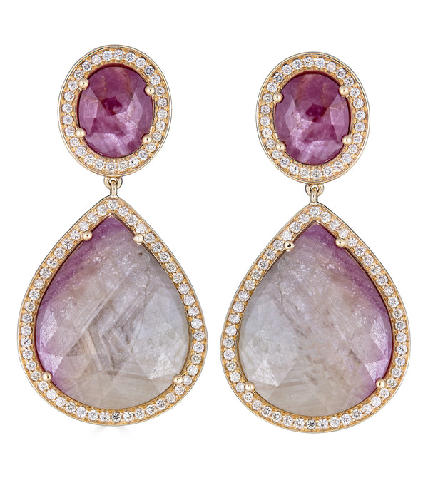 Pear Ruby Sapphire Diamond Drop Earrings